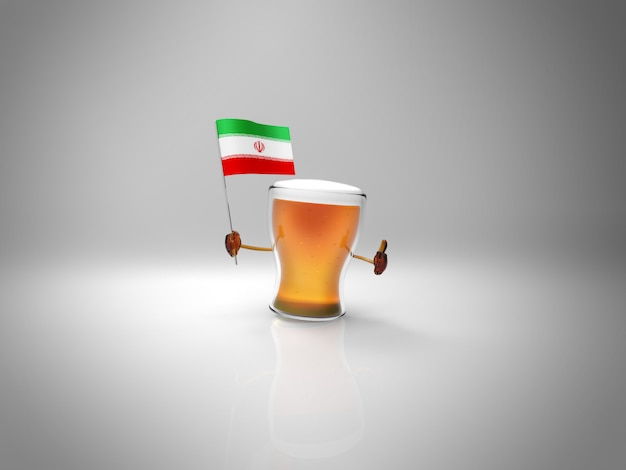 Fun illustrated beer character holding the flag of iran