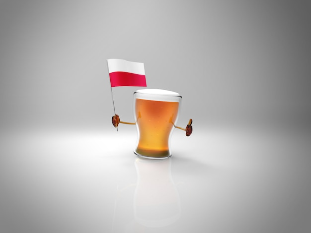 Fun illustrated beer character holding the flag of poland