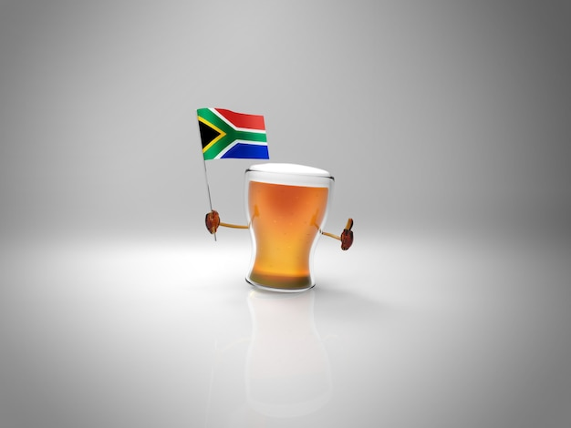 Fun illustrated beer character holding the flag of south africa