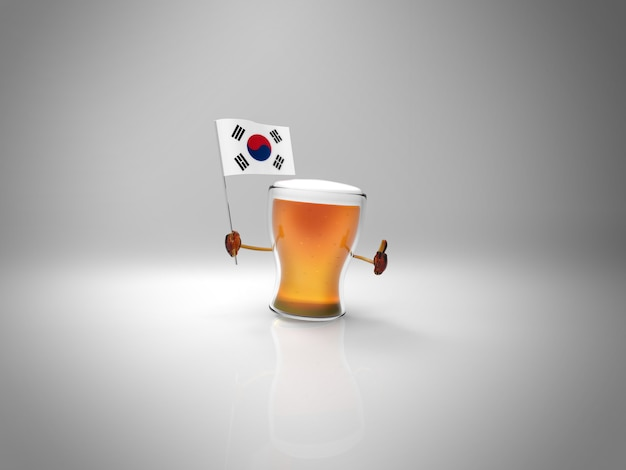 Fun illustrated beer character holding the flag of south korea