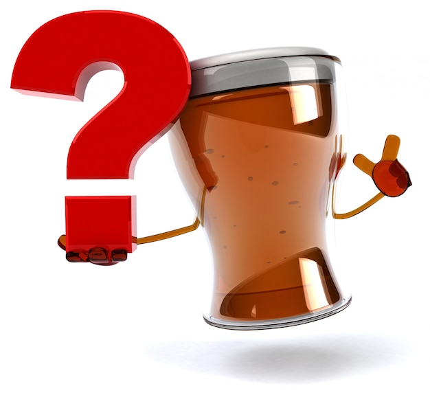 Fun illustrated beer character holding a question mark