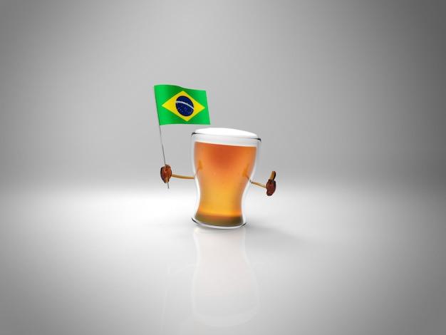 ブラジルの旗を握る楽しいイラスト入りビールのキャラクター