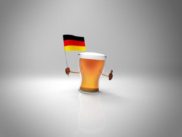 Весело проиллюстрированный персонаж пива держит флаг deutschland