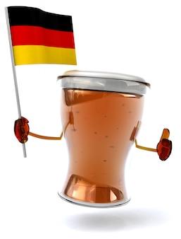 Весело проиллюстрированный персонаж пива держит флаг германии