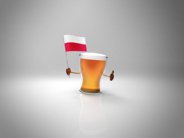 Весело проиллюстрированный персонаж пива держит флаг польши
