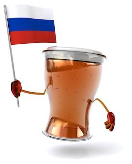 Весело проиллюстрированный персонаж пива держит флаг россии