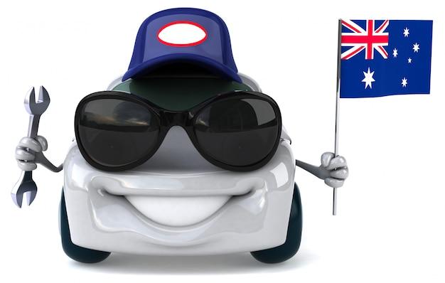 Fun illustrated car holding the flag of australia