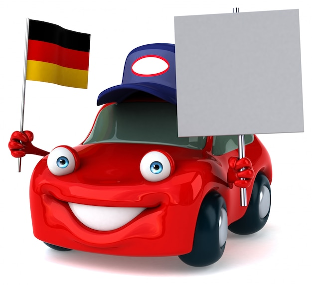 Fun illustrated car holding the flag of germany and a blank placard