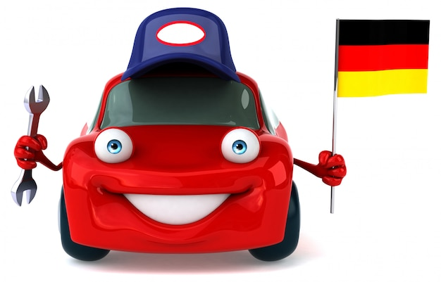 Fun illustrated car holding the flag of germany