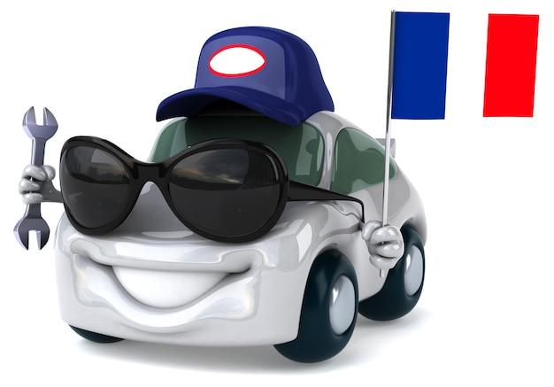 フランスの旗を握る楽しいイラスト入り車