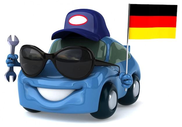 Забавный иллюстрированный автомобиль с флагом германии