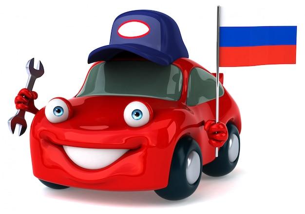 Весело иллюстрированный автомобиль с флагом россии