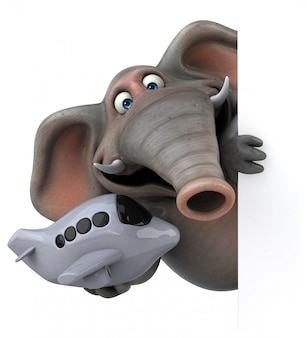 Fun illustrated elephant 3d holding a toy airplane