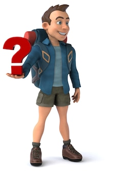 Fun illustration of a 3d cartoon backpacker