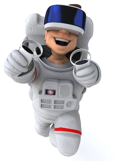 Fun illustration of an astronaut with a vr helmet