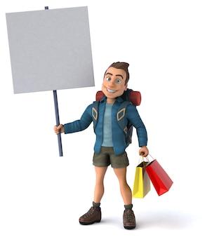 Fun illustration of a cartoon backpacker