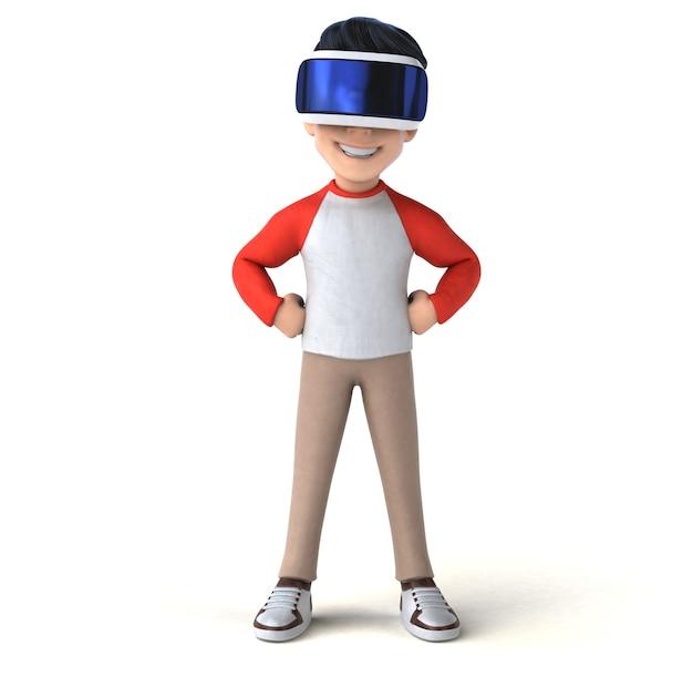 Fun illustration of a cartoon kid with a vr helmet