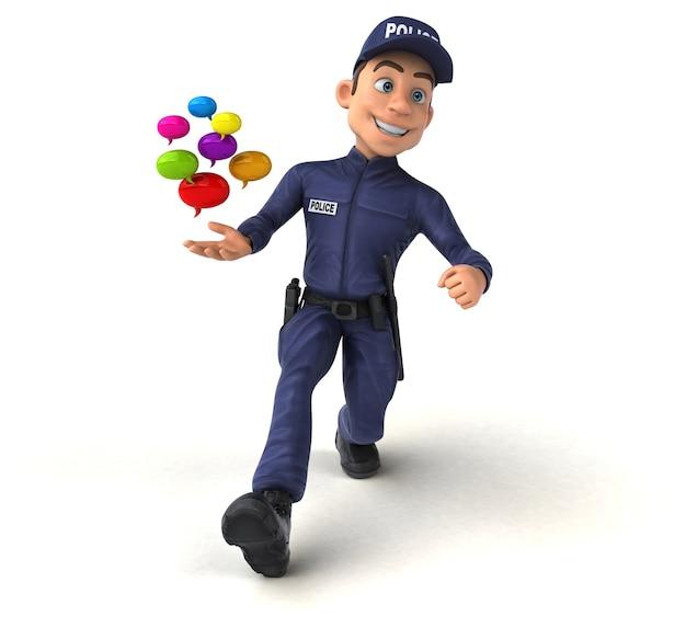 Fun illustration of a cartoon police officer