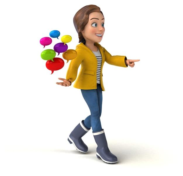 Fun illustration of a cartoon teenage girl