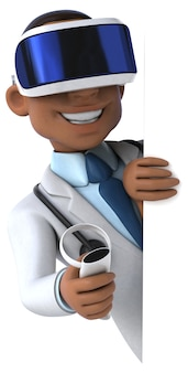 Fun illustration of a doctor with a vr helmet