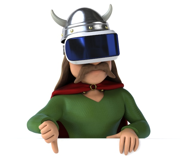 Fun illustration of a gaul with a vr helmet