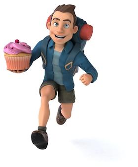 Забавная иллюстрация туриста из мультфильма 3d