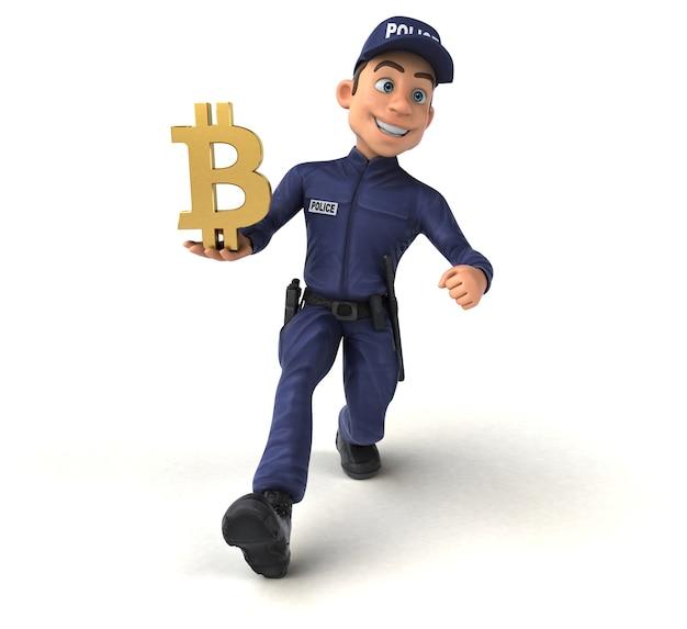 Забавная иллюстрация мультипликационного полицейского