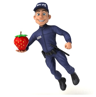 漫画の警察官の楽しいイラスト