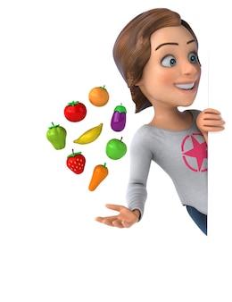 Забавная иллюстрация мультипликационной девочки-подростка