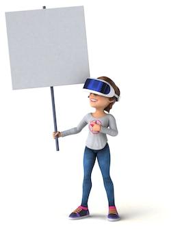 Забавная иллюстрация девочки-подростка в шлеме виртуальной реальности