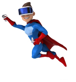 Fun illustration of a superhero with a vr helmet