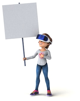 Fun illustration of a teenage girl with a vr helmet