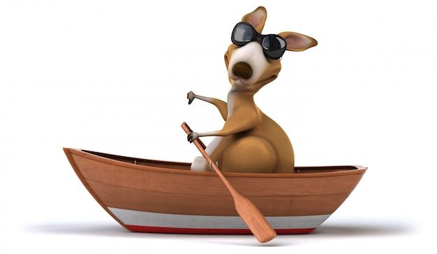 Веселый кенгуру на лодке