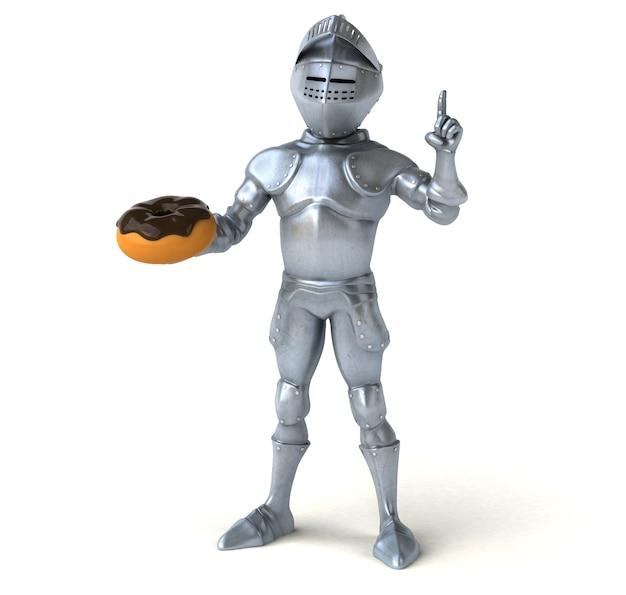 ドーナツを持っている楽しい騎士
