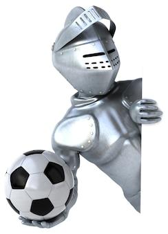 サッカーをしている楽しい騎士