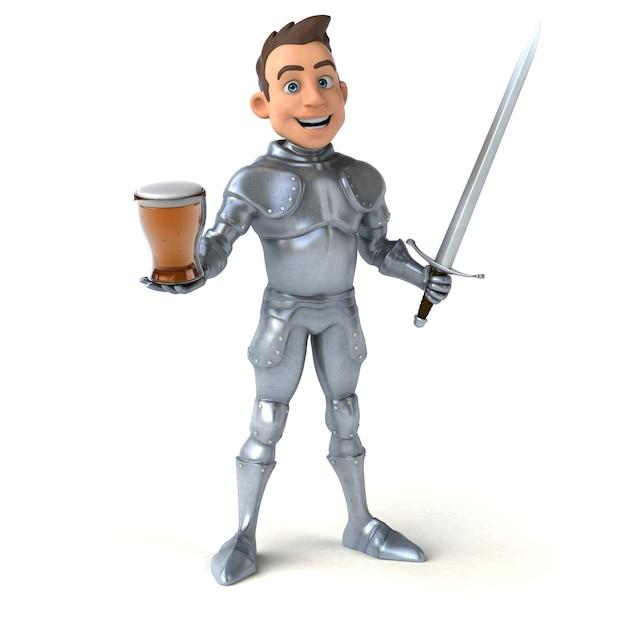 ビールを一杯持っている楽しい騎士