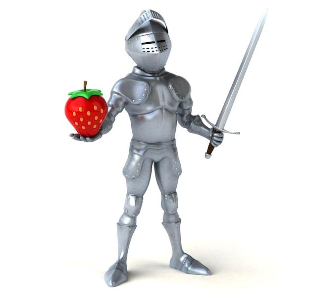 草とイチゴを持った楽しい騎士