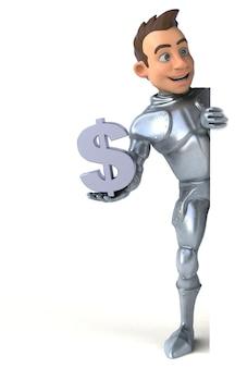 ドル記号を保持している楽しい騎士