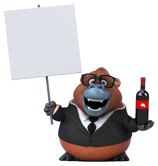 Забавный орангутанг - 3d иллюстрации