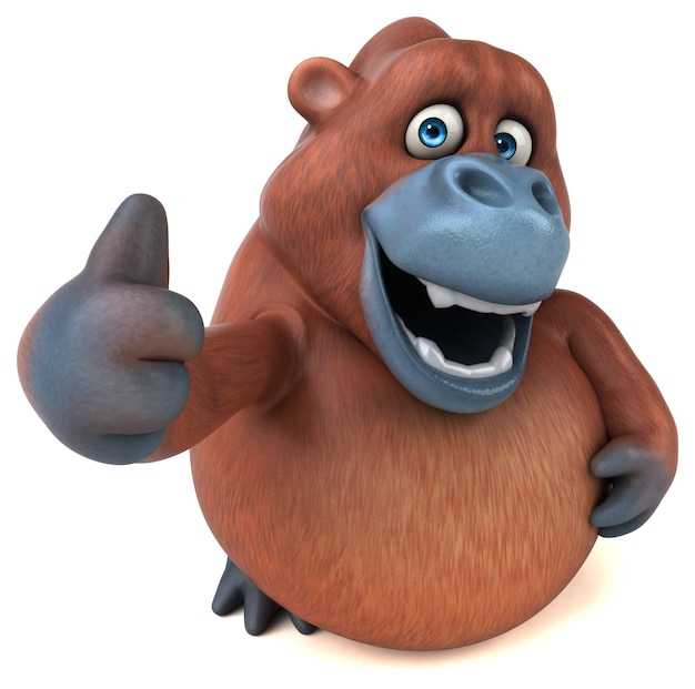 Забавный орангутанг - изолированные 3d иллюстрации