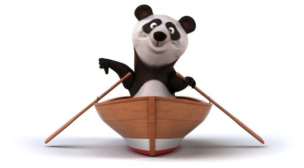 Fun panda on a boat
