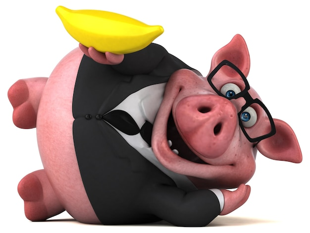 楽しい豚-3dイラスト