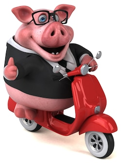 재미있는 돼지 - 3d 일러스트레이션