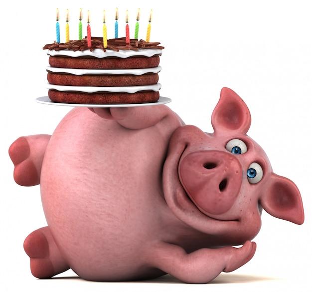 Веселая свинья 3d иллюстрация