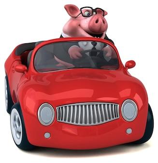 Illustrazione 3d di maiale divertente
