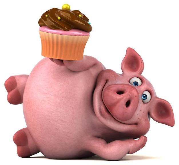 Веселая анимация свиньи