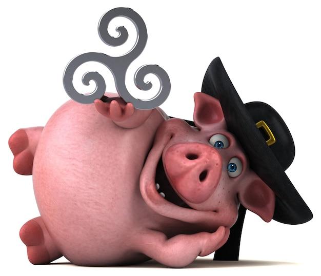 재미있는 돼지 그림 프리미엄 사진