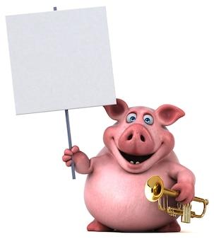 楽しい豚のイラスト