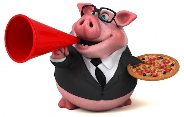 피자와 함께 재미있는 돼지
