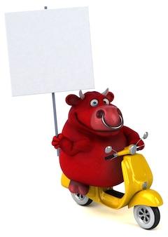 Забавный красный бык - 3d иллюстрации